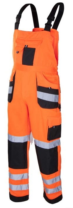 FLASH Orange - Pantaloni de protectie cu pieptar reflectorizanti