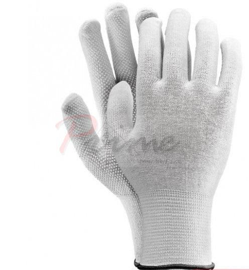 Sale: Rmicroncot Knitted Gloves, White PVC Dots