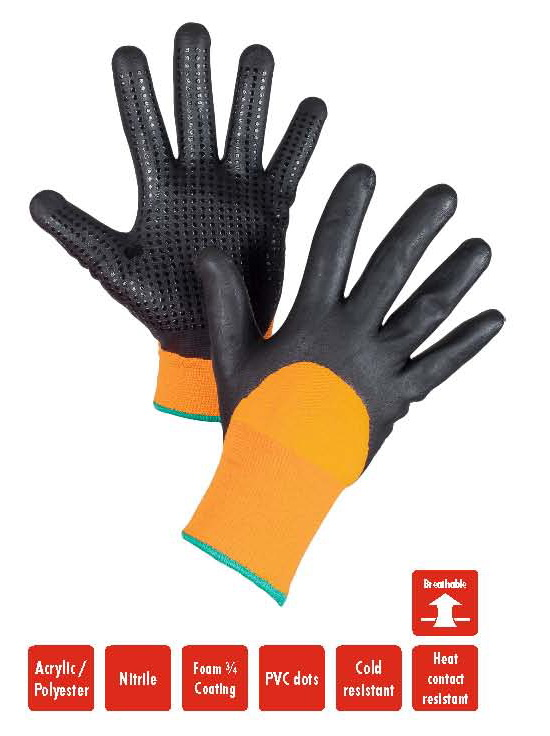 AERO Gloves NitroFoam Dot Thermo 1928, with PVC dots